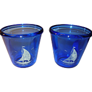 Depression Glass Pr Cobalt Blue Ice Bucket Sailboats