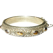 Vintage Oriental Bangle Sterling Vermeil Openwork