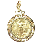 Gold Coin Liberty $5.00 Pendant