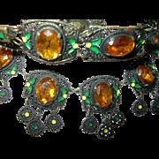 Czechoslovakian Bibb Necklace Bracelet Set