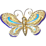 Vintage Brooch Butterfly Sterling Vermeil & Enamel
