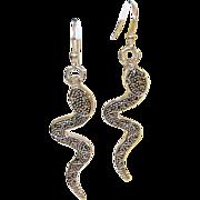 Vintage Earrings Sterling & Marcasite Cobras