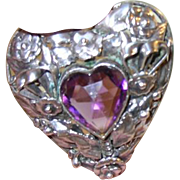 Vintage Hobe Sterling Pendant Brooch Heart Shaped