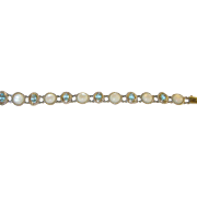 Vintage Sterling Link Bracelet Faux Aquamarine & Mother of Pearl Links
