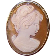 Vintage  Shell Cameo Brooch/Pendant 800 Coin Silver
