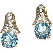 Vintage Earrings Sterling & Vermeil Faux Diamond & Aquamarine