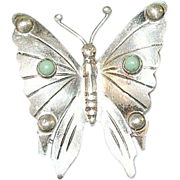 Vintage Sterling Brooch Butterfly Design