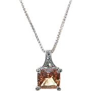 Vintage Sterling Necklace & Pendant Marcasite & Faux Topaz