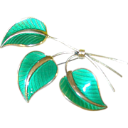Vintage Sterling Enamel Leaf Brooch by Albert Scharning Norway