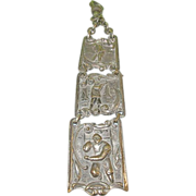 Antique Watch Fob Silver Plated Sports Motif Links