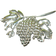 Vintage Sterling Brooch by Lang Grapes & Leaves
