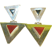 Vintage Sterling & Onyx Drop Earrings