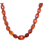 """Vintage Faceted Amber Bead Necklace 19"""""""