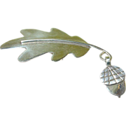Vintage Sterling Brooch Leaf & Acorn