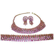 Vintage Pink Rhinestone Necklace, Bracelet & Earring Set