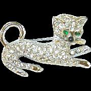 Vintage Rhinestone Cat Brooch 3 dimensional
