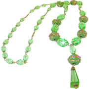 Vintage Venetian Art Glass Bead Necklace Lime Green