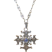 Vintage 800 Coin Silver Peruzzi Necklace & Pendant