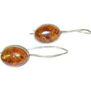 Vintage Sterling Amber Drop Earrings