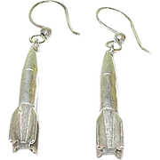 Vintage Sterling Drop Earrings Rockets