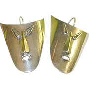 Vintage Sterling Earrings Large Theater Masks