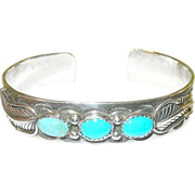 Native American Sterling Cuff Bracelet by C. Yazzie