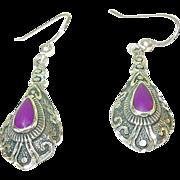 Vintage Sterling Drop Earrings Raised Design