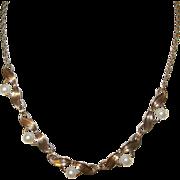 Vintage Link Pearl Bibb  Necklace Gold Filled