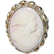 Vintage Pink Shell Cameo Brooch 3 Dimensional Gold Filled