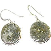 Vintage Sterling Drop Earrings Locket Chased Design