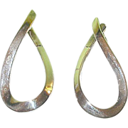 Vintage Sterling Earrings Modernist Design