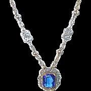 Vintage Sterling Necklace & Drop Pendant