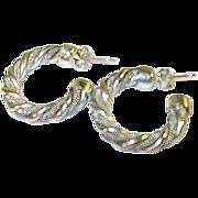 Vintage Sterling Hoop Earrings Mesh & Tubular Design