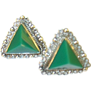 Vintage Sterling & Green Onyx Earrings