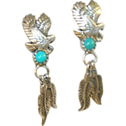 Vintage Sterling Native American Drop Earrings Eagle & Feather