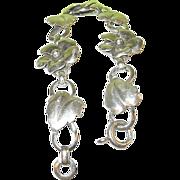 Vintage Sterling Link Bracelet Flowers & Leaves