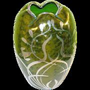 Loetz Green Iridescent Vase Silver Overlay