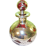 Art Nouveau Cranberry Glass Perfume Bottle Silver Overlay - Red Tag Sale Item