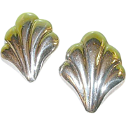 Vintage Sterling Earrings Shell Design
