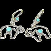 Vintage Sterling & Turquoise Drop Earrings Bears