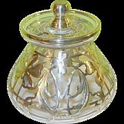 Art Nouveau Sugar Bowl Silver Overlay