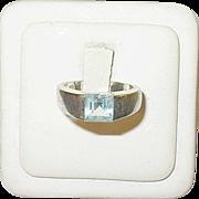 Vintage Sterling Ring Faux Aquamarine Modernist Design