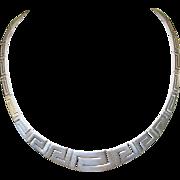 Vintage Sterling Necklace Greek Key