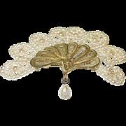 Vintage 800 Silver & Vermeil Faux Pearl Brooch Fan Shaped