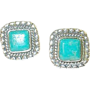 Vintage Earrings Sterling Turquoise Raised Design