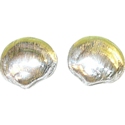 Vintage Sterling Earrings Sea Shell Design