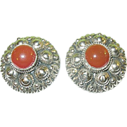 Vintage Sterling Carnelian Earrings