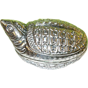 Vintage Oriental Sterling Pill Bill Box Turtle Design