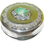 Vintage Sterling Pill Box Malachite Cabochon