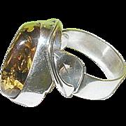 Vintage Sterling Lg Amber Ring Calla Lily Design